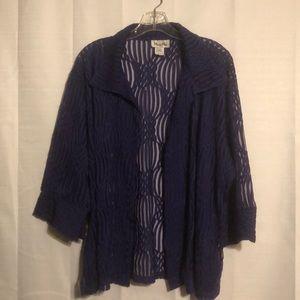 NWOT sheer purple open jacket blouse size 2X